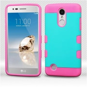 Insten TUFF Trooper Hybrid Dual Layer Case For LG Aristo/Fortune/K8 (2017)/LV3/Phoenix 3 - Teal Green/Electric Pink