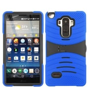Insten Wave Symbiosis Silicone Dual Layer Rubber Hard Case w/stand/Installed For LG G Stylo - Blue/Black