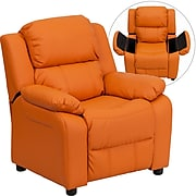 Flash Furniture Deluxe Contemporary Heavily Padded Vinyl Kids Recliner W/Storage Arms; Orange