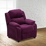 Flash Furniture Deluxe Contemporary Heavily Padded Microfiber Kids Recliner W/Storage Arms, Purple