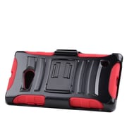 Insten Stand Dual Layer Hybrid Case with Holster For Nokia Lumia 735 - Black/Red