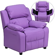 Flash Furniture Deluxe Contemporary Heavily Padded Vinyl Kids Recliner W/Storage Arms, Lavender