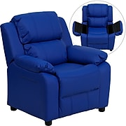 Flash Furniture Deluxe Contemporary Heavily Padded Vinyl Kids Recliner W/Storage Arms, Blue