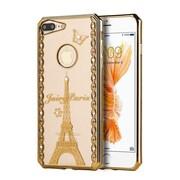 Insten Fairy Paris Gel Cover Case w/Diamond For Apple iPhone 7 Plus - Gold/Clear