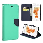 Insten Flip Leather Fabric Case Lanyard w/stand/card slot For Apple iPhone 7 Plus - Teal/Navy Blue