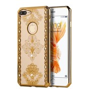 Insten Royal Floral Rubber Cover Case w/Diamond For Apple iPhone 7 Plus - Gold/Clear