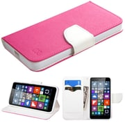 Insten Book-Style Leather Fabric Cover Case w/stand/card holder For Microsoft Lumia 640 - Hot Pink/White