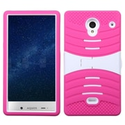 Insten Rubber Hybrid Rugged Hard Shockproof Case with Stand For Sharp Aquos Crystal - Hot Pink/White