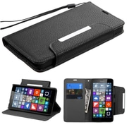 Insten Book-Style Leather Fabric Cover Case Lanyard w/stand/card slot For Microsoft Lumia 640 - Black