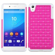 Insten Hard Dual Layer Rubberized Silicone Case w/Diamond For Sony Xperia Z4 - Hot Pink/White