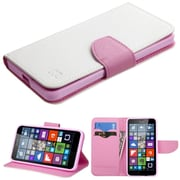 Insten Book-Style Leather Fabric Case w/stand/card holder For Microsoft Lumia 640 - White/Pink
