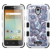 Insten Tuff European Flowers Hard Dual Layer Rubberized Silicone Case For Alcatel One Touch Elevate - Purple/White