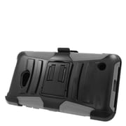 Insten Hard Hybrid Plastic Silicone Stand Case with Holster For Microsoft Lumia 640 - Black/Gray