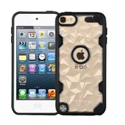 Insten Polygon Hard Crystal TPU Cover Case For Apple iPod Touch 5th Gen/6th Gen - Clear/Black