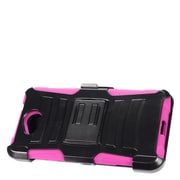 Insten Hard Hybrid Plastic Silicone Stand Case with Holster For Microsoft Lumia 650 - Black/Hot Pink
