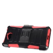 Insten Stand Dual Layer Hybrid Case with Holster For Microsoft Lumia 650 - Black/Red