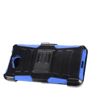 Insten Hard Hybrid Plastic Silicone Stand Case with Holster For Microsoft Lumia 650 - Black/Blue