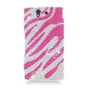 Insten Zebra Hard Diamond Case For Sony Xperia Z - Hot Pink/Silver