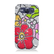 Insten Flowers Hard Diamante Cover Case For Samsung Galaxy S3 - Pink/Red