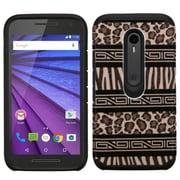 Insten Zebra Hard Dual Layer Rubber Coated Silicone Case For Motorola Moto G (3rd Gen) - Black/Brown