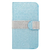 Insten Leather Wallet Diamond Case with Card slot For Kyocera Hydro Icon 6730/Hydro Life 6530 - Light Blue/Silver