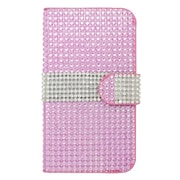 Insten Leather Wallet Diamante Case with Card slot For Kyocera Hydro Icon 6730/Hydro Life 6530 - Hot Pink/Silver