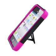 Insten Hard Hybrid Plastic Silicone Case with stand for iPhone 5S 5 - Black/Hot Pink