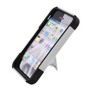 Insten Hard Hybrid Plastic Silicone Case with stand for iPhone 5S 5 - White/Black