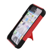 Insten Hard Dual Layer Plastic Silicone Case with stand for iPhone 5S 5 - Red/Black