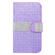 Insten Leather Wallet Rhinestone Case with Card slot For Kyocera Hydro Icon 6730/Hydro Life 6530 - Purple/Silver