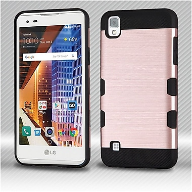 Insten Hard Hybrid TPU Back Cover Case For LG Tribute HD / X STYLE - Rose Gold/Black