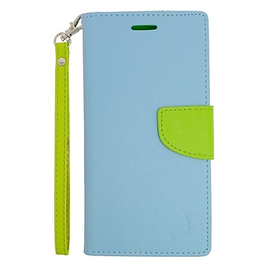 Insten Leather Wallet Case with Lanyard & Card Slot For Samsung Galaxy S6 Active - Light Blue/Green