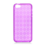 Insten Checker Rubber Clear Cover Case For Apple iPhone 5/5S - Hot Pink