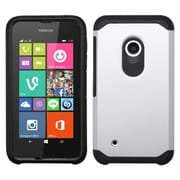 Insten For Nokia Lumia 530 White Black Hard Silicone Hybrid Rubberized Case Cover Back Shell Skin