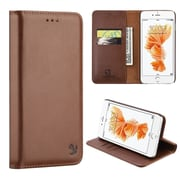Insten Book-Style Leather Fabric Case Magnetic w/stand/card holder For Apple iPhone 7 - Brown