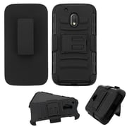 Insten Hard Dual Layer Plastic Silicone Case w/Holster For Motorola Moto G4 Play - Black