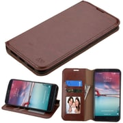 Insten Flip Leather Case w/stand/card slot/Photo Display For ZTE Imperial Max / Kirk / Max Duo 4G - Brown