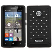 Insten Hard Hybrid Rugged Shockproof Silicone Cover Case w/Diamond For Microsoft lumia 435 - Black