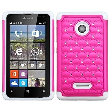 Insten Hard Hybrid Silicone Cover Case w/Diamond For Microsoft lumia 435 - Hot Pink/White