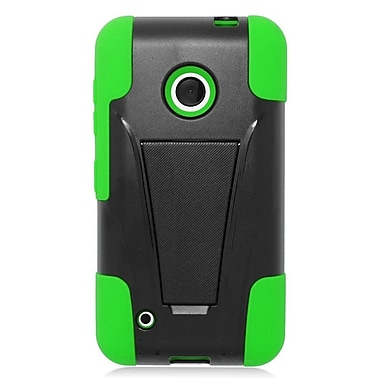 Insten Hard Dual Layer Plastic Silicone Case with stand For Nokia Lumia 530 - Green