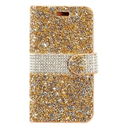 Insten Diamond Bling PU Leather Flip Wallet Pouch Card Stand Case Cover For ZTE Grand X 4 - Gold/Silver