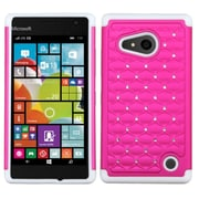 Insten Hard Dual Layer Silicone Cover Case w/Diamond For Nokia Lumia 730/735 - Hot Pink/White