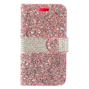 Insten Diamond Bling PU Leather Flip Wallet Pouch Card Stand Case Cover For ZTE Grand X 4 - Hot Pink/Silver