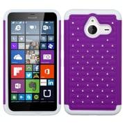 Insten Hard Dual Layer Rubberized Silicone Case w/Diamond For Microsoft Lumia 640 XL - Purple/White