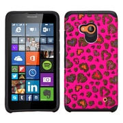 Insten Leopard Hard Hybrid Rubber Coated Silicone Cover Case For Microsoft Lumia 640 - Hot Pink/Black