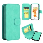 Insten Flip Leather Fabric Case Zipper wallet w/stand/card holder/Photo Display For Apple iPhone 7 - Teal