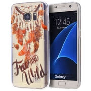 Insten Free wild TPU Water Color IMD Rubber Skin Shell Case For Samsung Galaxy S7 - Clear/Orange