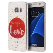 Insten Just Need Love TPU Water Color IMD Rubber Skin Shell Case For Samsung Galaxy S7 - Clear/Red