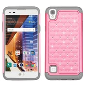 Insten Hard Dual Layer Rubber Silicone Case w/Diamond For LG Tribute HD / X STYLE - Pink/Gray