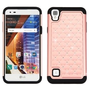 Insten Hard Dual Layer Rubber Coated Silicone Case w/Diamond For LG Tribute HD / X STYLE - Rose Gold/Black